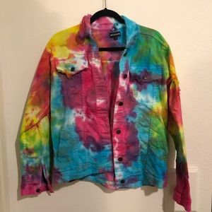 NWOT Distressed Tie Dyed Denim Jacket